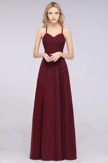 Affordable Spaghetti Straps V-Neck Burgundy Chiffon Bridesmaid Dress with Keyhole Back_10