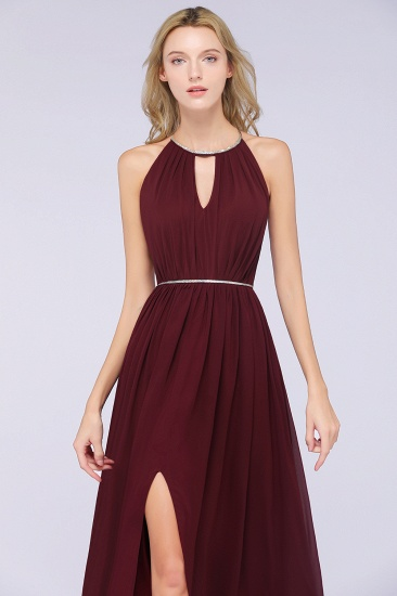 Chic Burgundy Halter Long Backless Bridesmaid Dress with Beadings_7