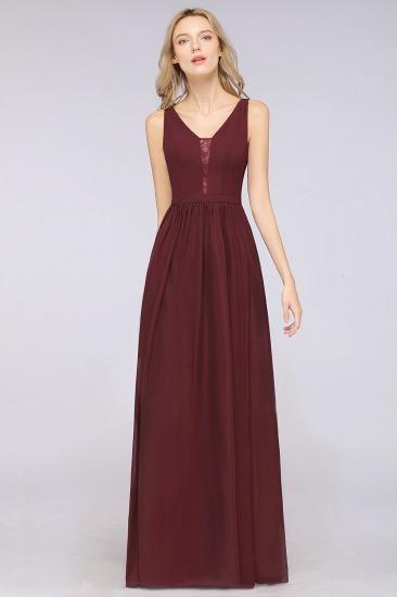 BMbridal Chic Ruffles Straps Chiffon Lace Burgundy Bridsmaid Dress Online_4