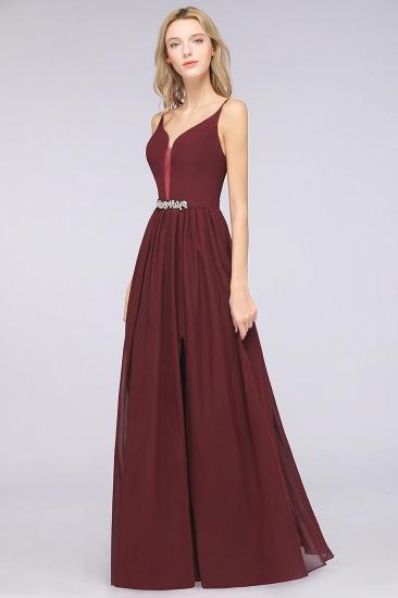BMbridal Sexy Deep-V-Neck Appliques Burgundy Chiffon Bridesmaid Dress with Slit_5