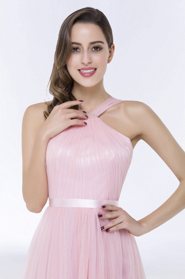 BMbridal Chic Tulle Ruffle Halter Sleeveless Pearls Bridesmaid Dress with Sash_8