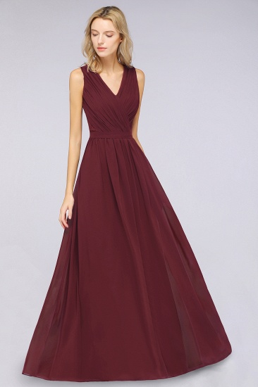 Affordable Burgundy V-Neck Ruffle Bridesmaid Dresses with Lace-Back_4