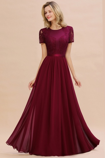 Elegant Chiffon Lace Jewel Short-Sleeves Affordable Bridesmaid Dress_53