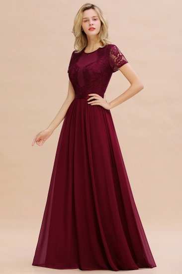 Elegant Chiffon Lace Jewel Short-Sleeves Affordable Bridesmaid Dress_56