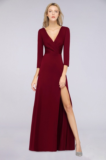 Popular Spandex Long-Sleeves Burgundy Bridesmaid Dresses with Side-Slit_34