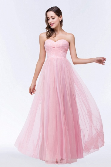 BMbridal Chic Tulle Ruffle Strapless Sweetheart Floor-Length Bridesmaid Dresses_7