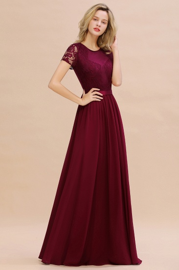 Elegant Chiffon Lace Jewel Short-Sleeves Affordable Bridesmaid Dress_54