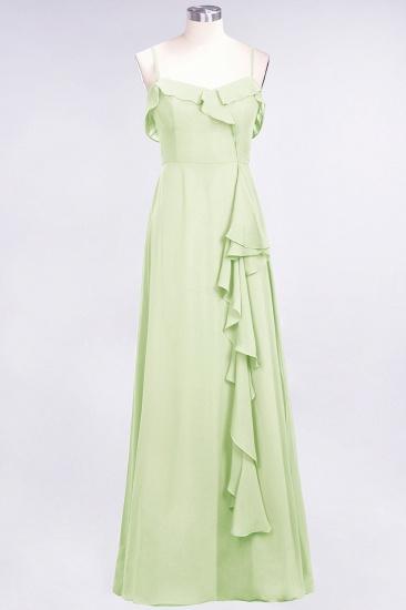 Elegant Spaghetti Straps Ruffle Burgundy Chiffon Dresses Affordable_35