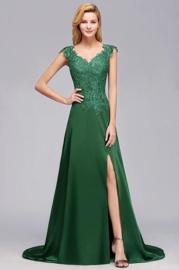 Elegant V-Neck Dark Green Lace Bridesmaid Dresses with Front-Slit_1