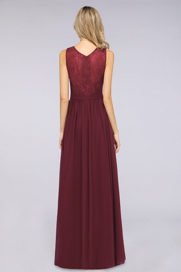 Affordable Burgundy V-Neck Ruffle Bridesmaid Dresses with Lace-Back_3