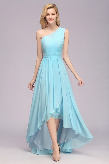 Hi-Lo One shoulder Ruffles Bridesmaid Dress