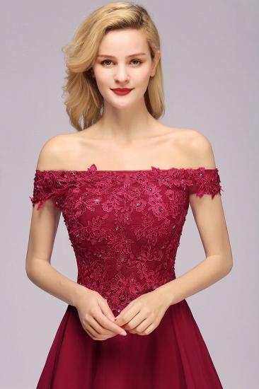 Gorgeous Lace Off-the-shoulder Short Burgundy Bridesmaid Dresses Online_7