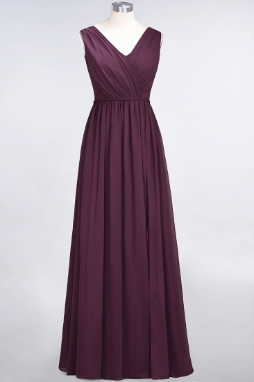 Glamorous TulleV-Neck Ruffle Burgundy Bridesmaid Dress Online_20