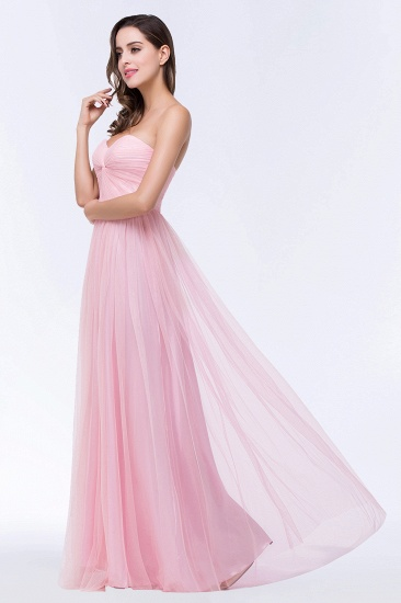 BMbridal Chic Tulle Ruffle Strapless Sweetheart Floor-Length Bridesmaid Dresses_8