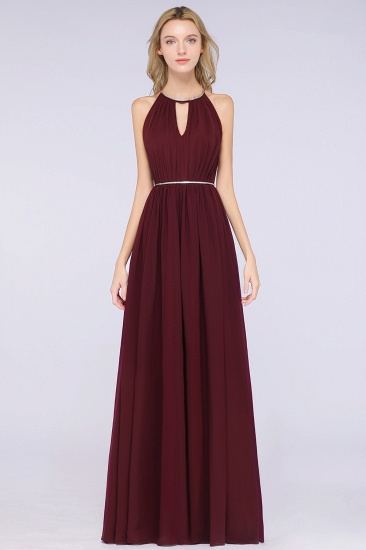 Chic Burgundy Halter Long Backless Bridesmaid Dress with Beadings_6