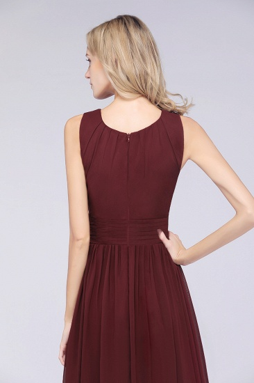 BMbridal Modest Round-Neck Sleeveless Burgundy Bridesmaid Dresses with Ruffles_7