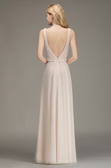 Elegant Straps V-Neck Long Affordable Bridesmaid Dresses with Ruffle_3