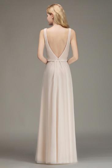 BMbridal Elegant Straps V-Neck Long Affordable Bridesmaid Dresses with Ruffle_3