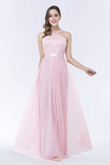 BMbridal Chic Tulle Ruffle Halter Sleeveless Pearls Bridesmaid Dress with Sash_4