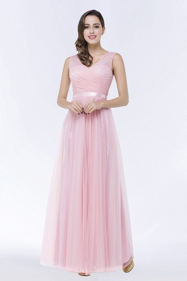V Neck   Bridesmaid Dresess with Long Sash