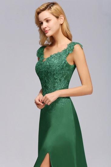 Elegant V-Neck Dark Green Lace Bridesmaid Dresses with Front-Slit_8