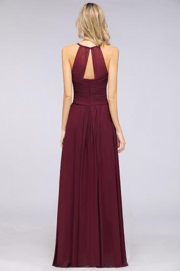 Affordable Spaghetti Straps V-Neck Burgundy Chiffon Bridesmaid Dress with Keyhole Back_52