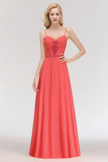 Ruffles Appliques Spaghetti-Straps Bridesmaid Dress