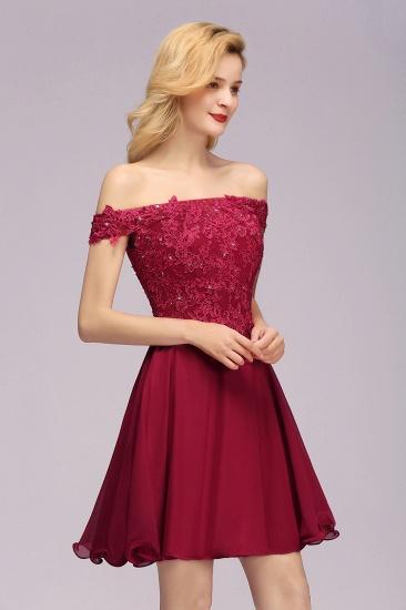 Gorgeous Lace Off-the-shoulder Short Burgundy Bridesmaid Dresses Online_6