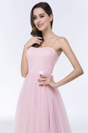 Modest Spaghetti-Straps Sweetheart Long Bridesmaid Dress with Sash_9