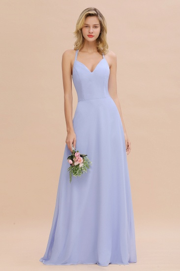 Halter V-Neck Long Bridesmaid Dress