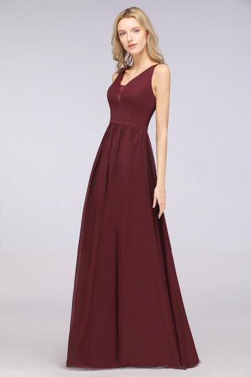BMbridal Chic Ruffles Straps Chiffon Lace Burgundy Bridsmaid Dress Online_1