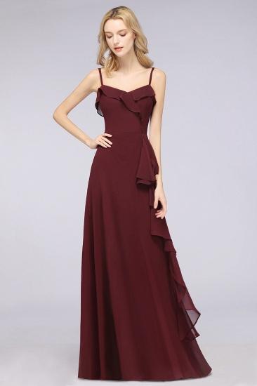 Elegant Spaghetti Straps Ruffle Burgundy Chiffon Dresses Affordable_55
