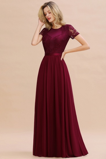 Elegant Chiffon Lace Jewel Short-Sleeves Affordable Bridesmaid Dress_55