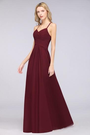 Affordable Spaghetti Straps V-Neck Burgundy Chiffon Bridesmaid Dress with Keyhole Back_55