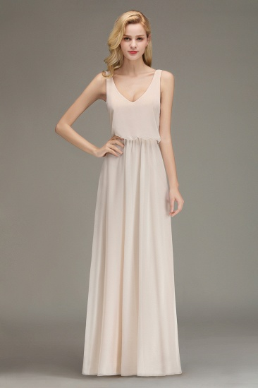 Elegant Straps V-Neck Long Affordable Bridesmaid Dresses with Ruffle_6