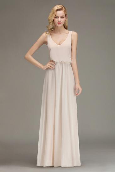 BMbridal Elegant Straps V-Neck Long Affordable Bridesmaid Dresses with Ruffle_6