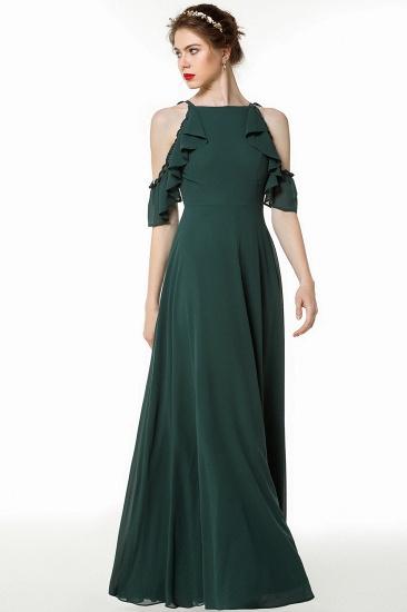 Chic Cold-shoulder Ruffle Dark Green Chiffon Bridesmaid Dresses Online_4