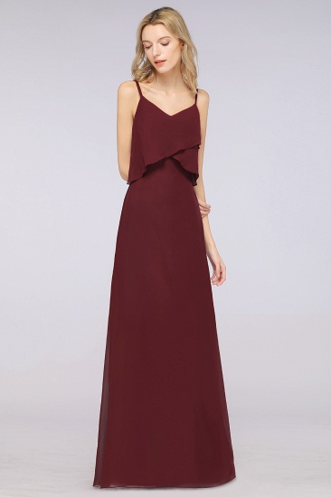 Affordable Spaghetti-Straps V-Neck Burgundy Chiffon Bridesmaid Dresses_53