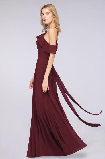 Affordable Spaghetti Straps Burgundy Long Bridesmaid Dress With Bow Sash_5