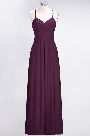 Affordable Spaghetti Straps V-Neck Burgundy Chiffon Bridesmaid Dress with Keyhole Back_20