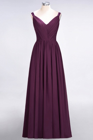 BMbridal Chic V-Neck Straps Ruffle Burgundy Bridesmaid Dresses with Bow Sash_20