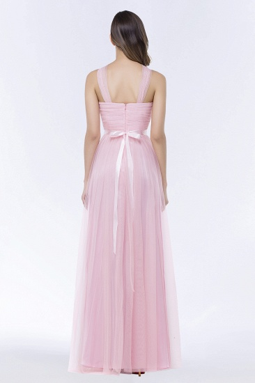 BMbridal Chic Tulle Ruffle Halter Sleeveless Pearls Bridesmaid Dress with Sash_3