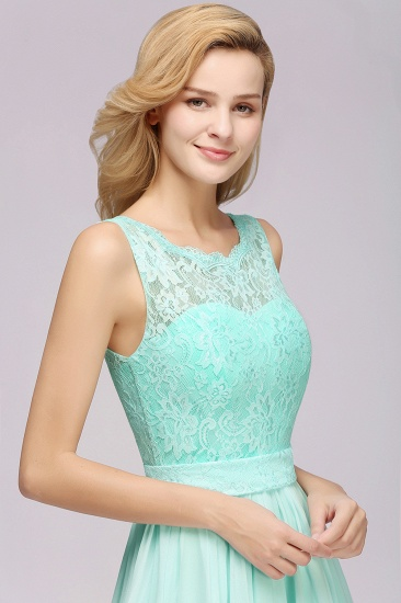 Elegant Chiffon Lace Scalloped Sleeveless Ruffle Bridesmaid Dresses_55