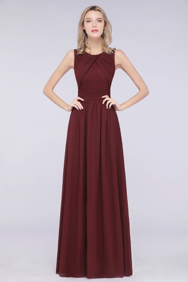 Modest Round-Neck Sleeveless Burgundy Bridesmaid Dresses with Ruffles_2