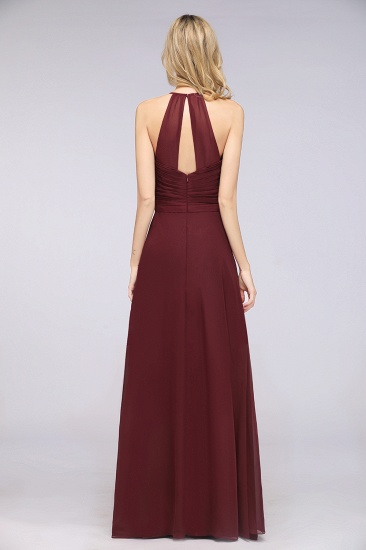 Affordable Chiffon Halter V-Neck Ruffle Burgundy Bridesmaid Dresses_3