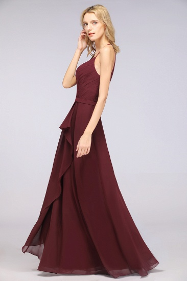 Affordable Chiffon Halter V-Neck Ruffle Burgundy Bridesmaid Dresses_7