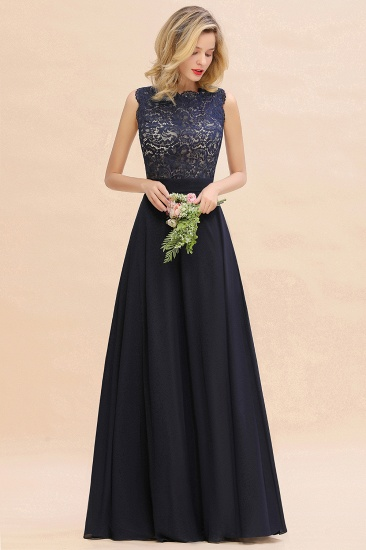 Exquisite Scoop Chiffon Lace Bridesmaid Dresses with V-Back_53