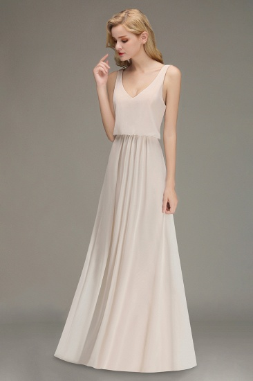 Elegant Straps V-Neck Long Affordable Bridesmaid Dresses with Ruffle_4