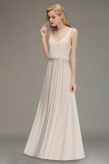BMbridal Elegant Straps V-Neck Long Affordable Bridesmaid Dresses with Ruffle_4