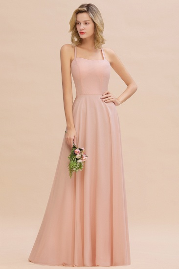 Chic Straps Sleeveless Chiffon Affordable Bridesmaid Dresses with Ruffle
